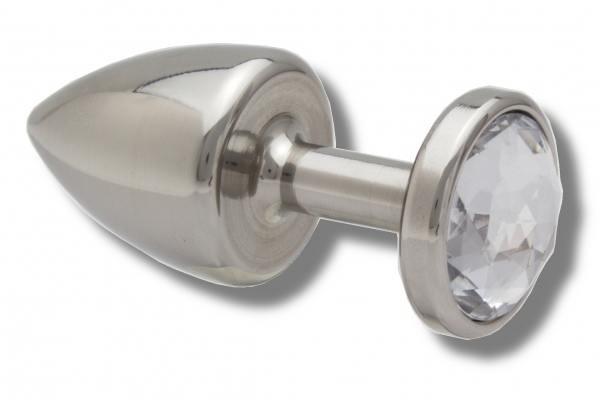 Buttplug aus Edelstahl Kristall weiß