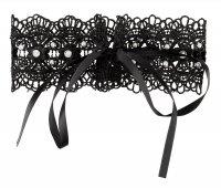 Preview: Schwarzes, gesticktes Halsband mit weißen Perlen