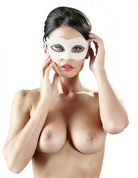 Augenmaske mit weißen Perlen