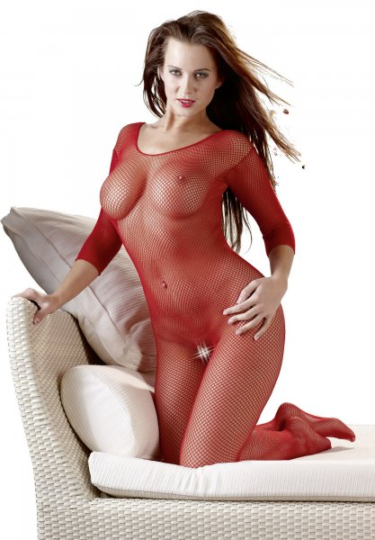 Fishnet Catsuit red