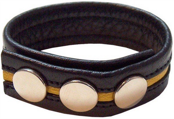 Leather cockstrap with yellow stripe in universal size